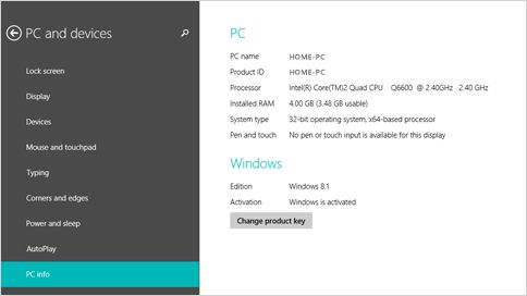 PC info page in PC settings
