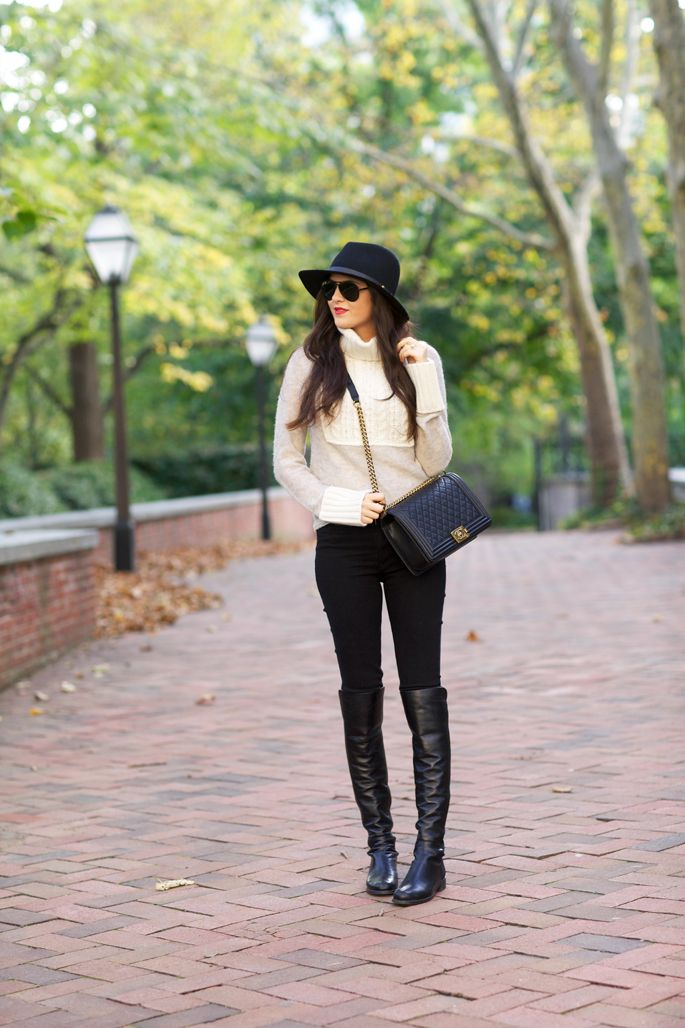 Top: Tory Burch | Bottoms: Hudson | Boots: Stuart Weitzman | Bag: Chanel (similar style) | Hat:...: