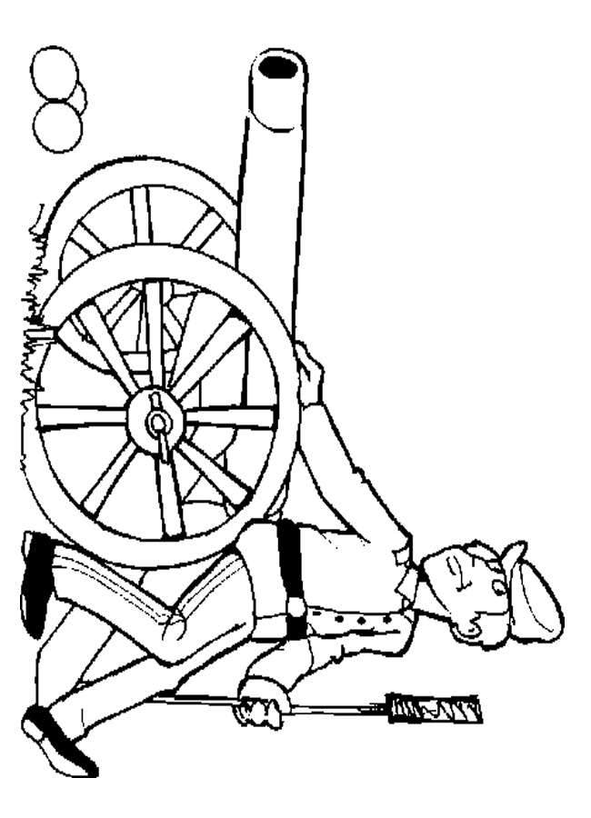 Civil War Soldier with Cannon Coloring Sheet (With images