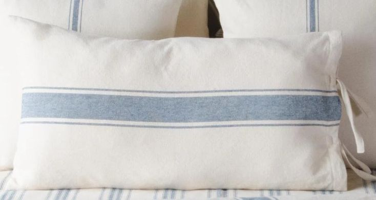 Grain Sack Blue Stripe Lumbar Pillow Cover