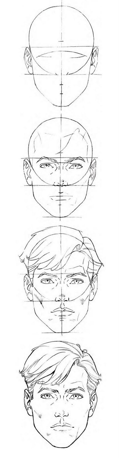 Example of how to draw a male face