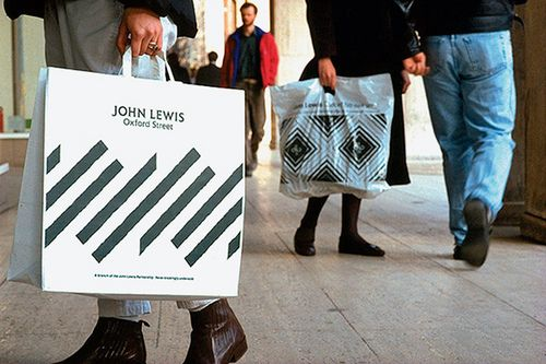 John Lewis carrier bags with logo.