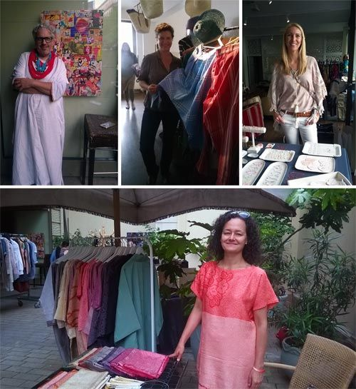 Vienna Insight: Firlefanz design and flea market on 4 June 2016 at Aux Gazelles. fig. clockwise: Presenter and model, talent agent Mario Soldo; Aux Gazelles owner Christine Ruckendorfer;  Antonia Chadim, owner of 'Pretty Delicate'; silk-recycler Barbara Lindner, founder of the Austrian label 'Alila'.
