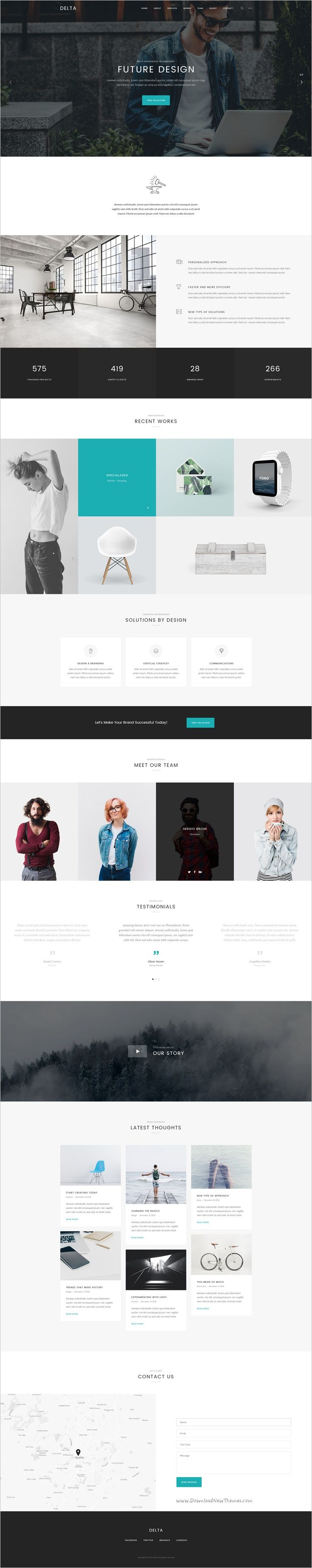Delta is a wonderful #PSD template for #onepage #business websites download now➩ https://themeforest.net/item/delta-onepage-psd-template/19220310?ref=Datasata