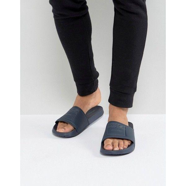 Ben Sherman Slider Sandals ($20) ❤ liked on Polyvore featuring men's fashion, men's shoes, men's sandals, blue, mens leather slip on shoes, mens slip on sandals, mens blue leather shoes, mens monk strap shoes and ben sherman mens shoes
