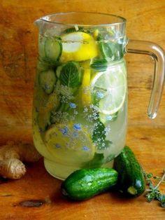 "voda ""SASSI"" (citron,okurek,zázvor,máta-uležet přes noc)"