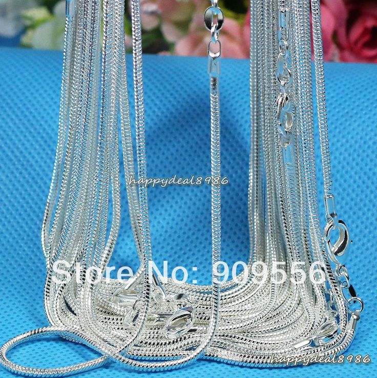 "Find More Chain Necklaces Information about Wholesale 10pcs/lot ,fashion 925 silver necklace chains,1mm 925 silver snake chain necklace 16"",18"",20"",22"",24"",choose length,High Quality necklace wholesale,China necklace crystal Suppliers, Cheap necklace - costume jewellery from Alice Jewelry store on Aliexpress.com"