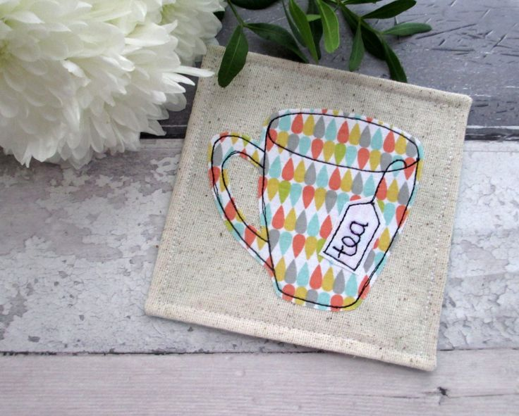 Fabric Coaster, Gift For A Tea Lover, Mug Coaster, Contemporary Coasters, Pastel Color Fabric, Applique Gift, Mug Rug by TheCornishCoasterCo on Etsy