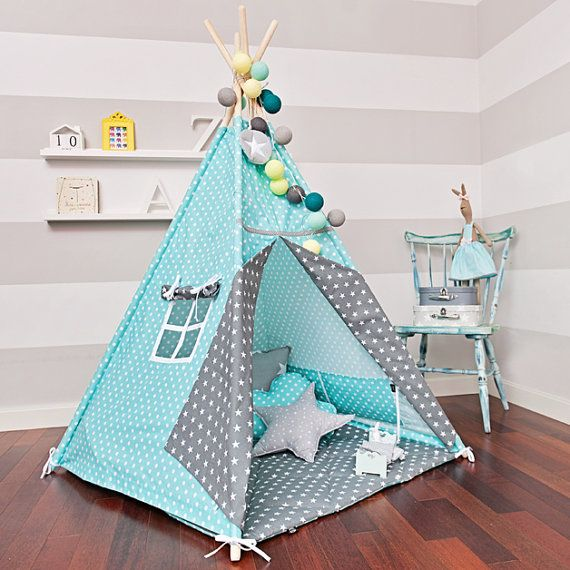 Teepee play tent is a great hiding place for your child at any time of the year. You can enjoy it at home, on the terrace, balcony or garden. Decorate any interior and give comfort.  The tent is lightweight and easy to assemble, so you can freely move and rearrange. Made up of two color fabrics. It has a charming window, and commonly established laps. Inside it has 2 pockets for treasures of your child. It includes free of charge decorative pendant!  In this offer only teepee tent is for…