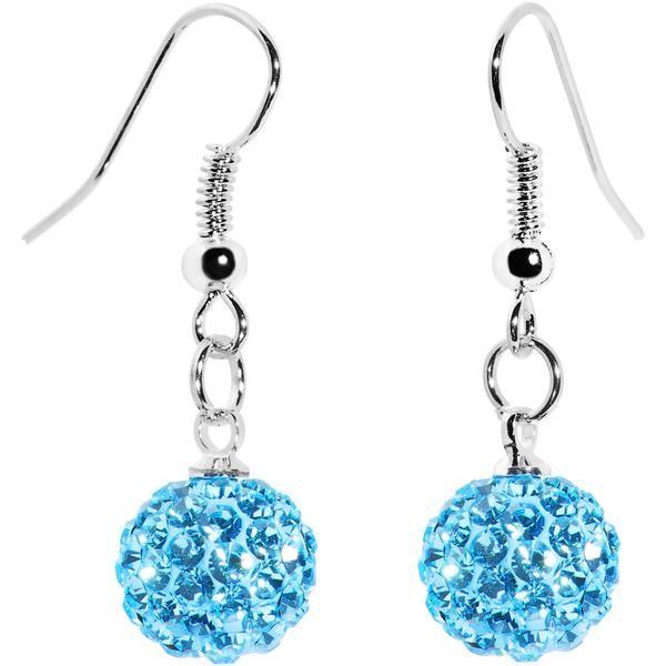 bac67d63b 10mm Aqua Austrian Crystal Ferido Ball Drop Earrings | Earring ...
