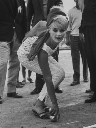 Elke Sommers playing petanque, 1960's