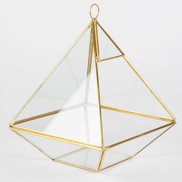 Comprar Terrario en forma de Pirámide Dorado online - La Tienda de Renata
