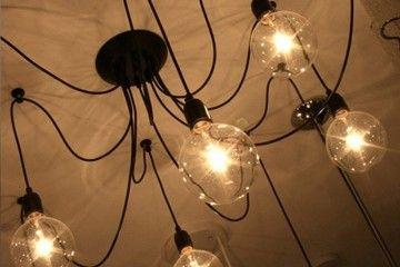 Люстра-паук на 8 лап (черная) для ламп Эдисона