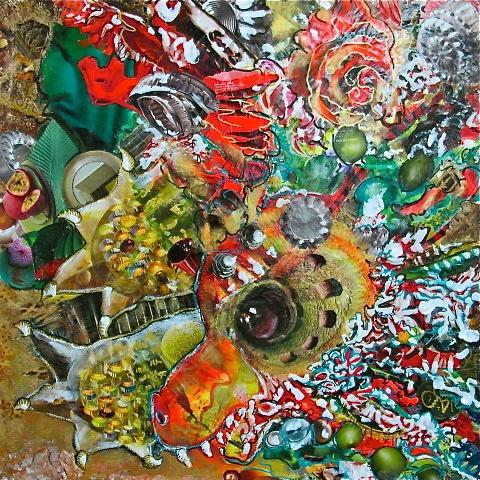 """Patricia Blin Paris 2013 """"On achève bien les dragons"""" 90 x 90 cm Technique mixte, acrylique/collages"""