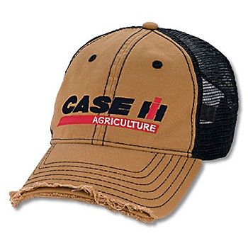 Distressed Mesh Back Cap | ShopCaseIH.com. Sometimes distress can be a good thing... but only when it's the distressed visor of this Case IH distressed garment-washed khaki-front cap with black-mesh back. Front of cap also features the unmistakable Case IH Agriculture logo embroidered in black, red and white. Adjustable cap has cloth tri-glide backstrap.
