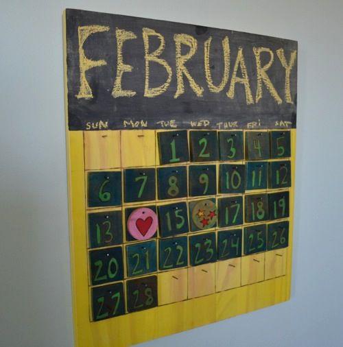 wooden perpetual chalkboard calendar | Calendars | Pinterest
