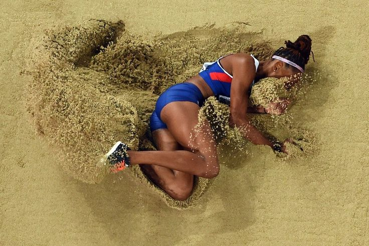 "Britain's Shara Proctor competes in the final of the women's long jump athletics event at the 2015 IAAF World Championships at the ""Bird's Nest"""