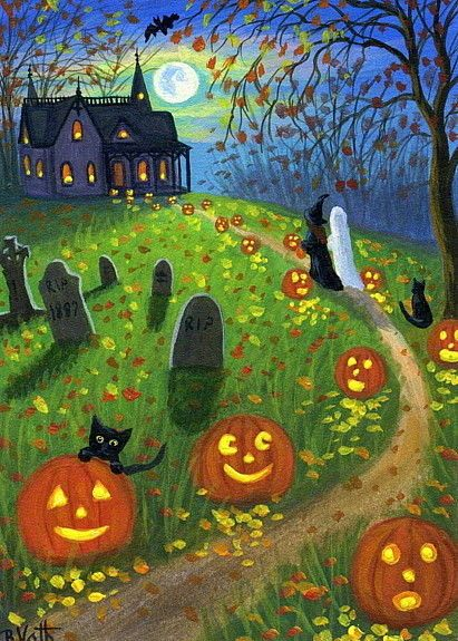 Haunted house cats witch ghost pumpkins moon original aceo painting art #Realism