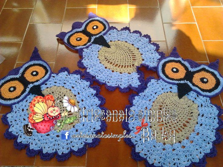 Juegos De Baño Tejidos De Buhos:Artesanato Simples By Lu: Tapetes de coruja em croche