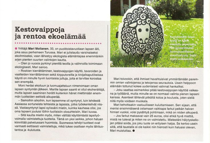 AstuButiikkiin.fi Ekoelo-lehdessä 02/2014. Kuvassa Kuviokioskin Söpö.