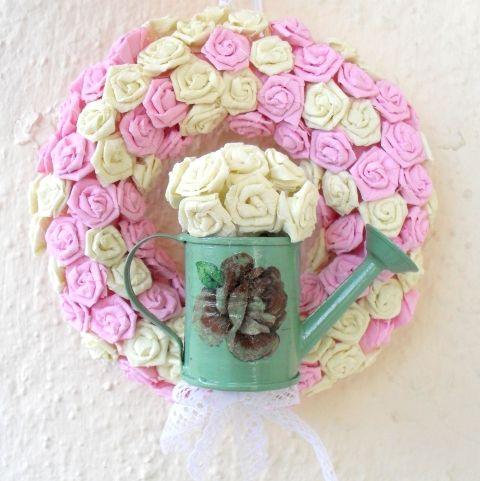 Shabby Chic ajtódísz virágokkal - esküvő, születésnap, névnap, Otthon, lakberendezés, Dekoráció #meska #nabradi