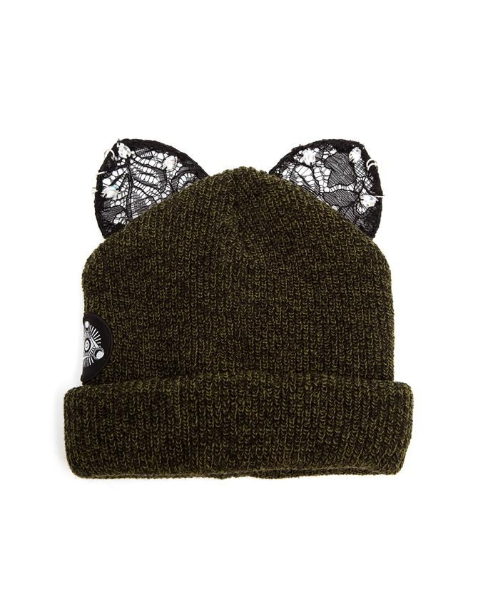 SILVER SPOON ATTIRE | Beanie Hat with Lace Cat Ears