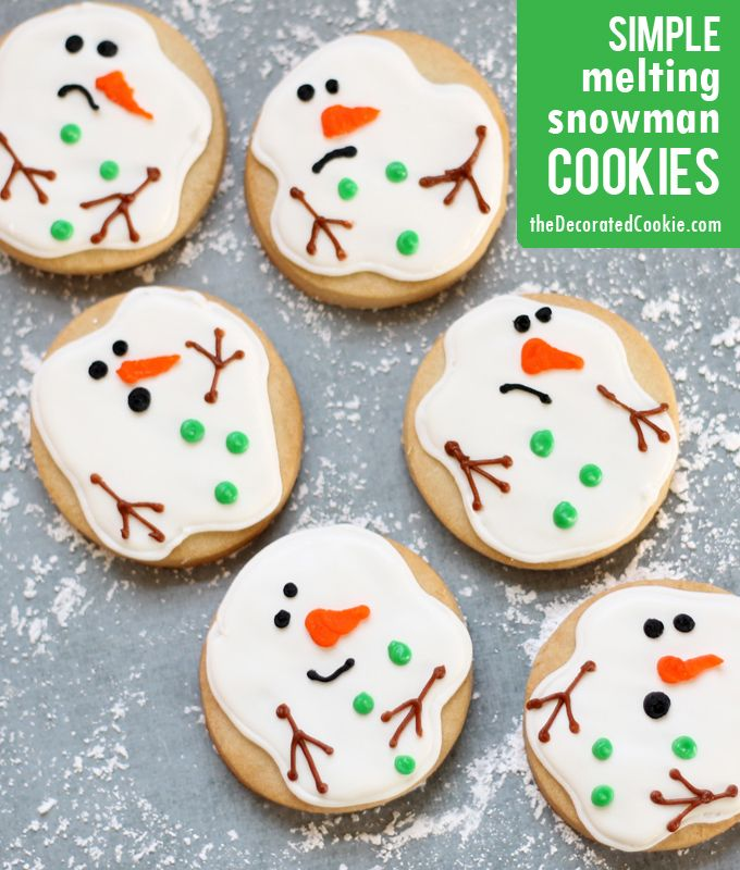 """simple melting snowman cookies (from the creator of the ORIGINAL melting snowman cookie), or """"snowman puddle cookies"""""""