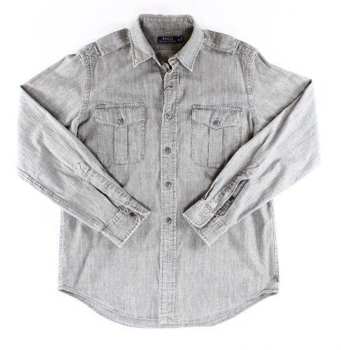 Polo Ralph Lauren Gray Chambray Mens XS Button Down Military Shirt