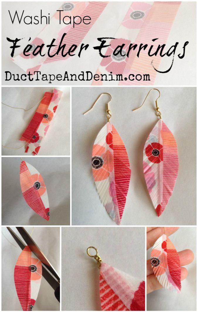Washi Tape Feather Earrings tutorial and other DIY jewelry ideas for yourself or gifts on DuctTapeAndDenim.com