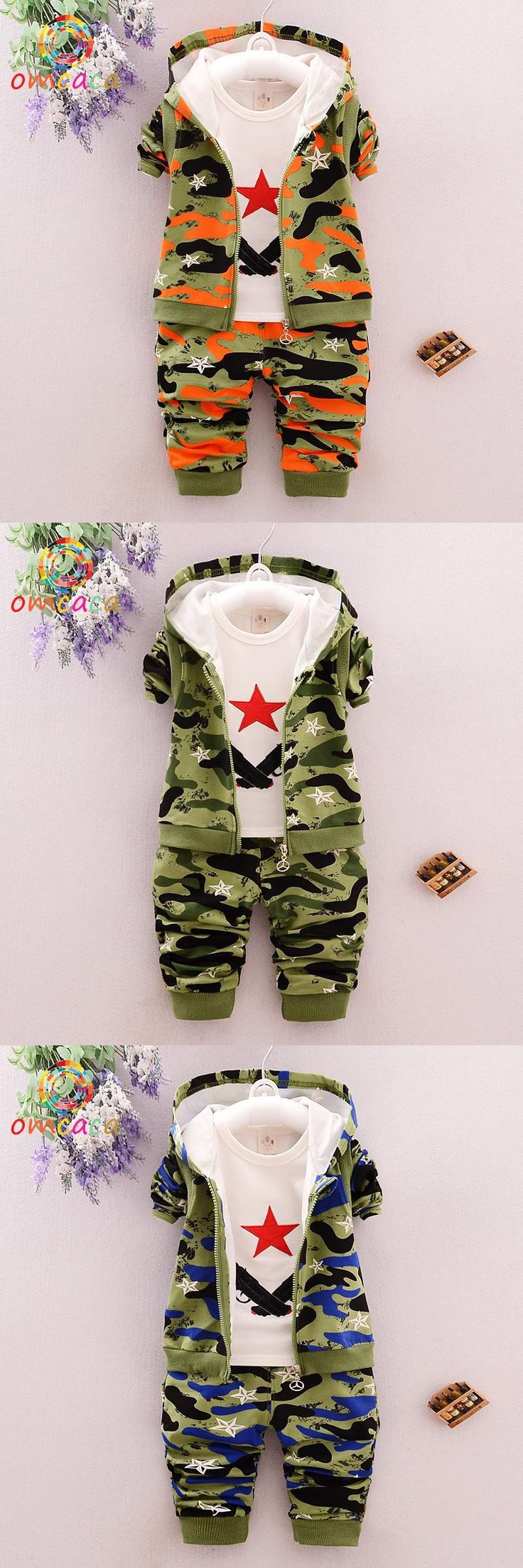 Camouflage baby clothing set hooded 3 pes set baby outfit set long sleeve full Camo baby jongen kids clothes boys OM022 $28.5