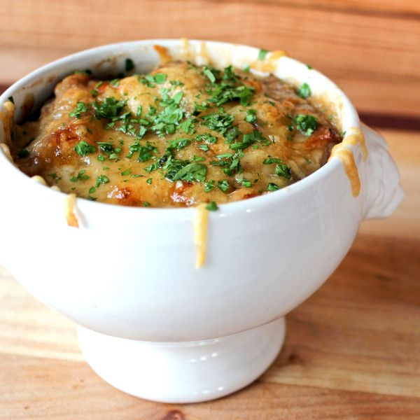 French Onion Soup with Figs, Gruyere and Duck Confit. Recipe from Chef Sean Fowler of Mandolin in Raleigh, North Carolina. Photo courtesy of Mandolin.