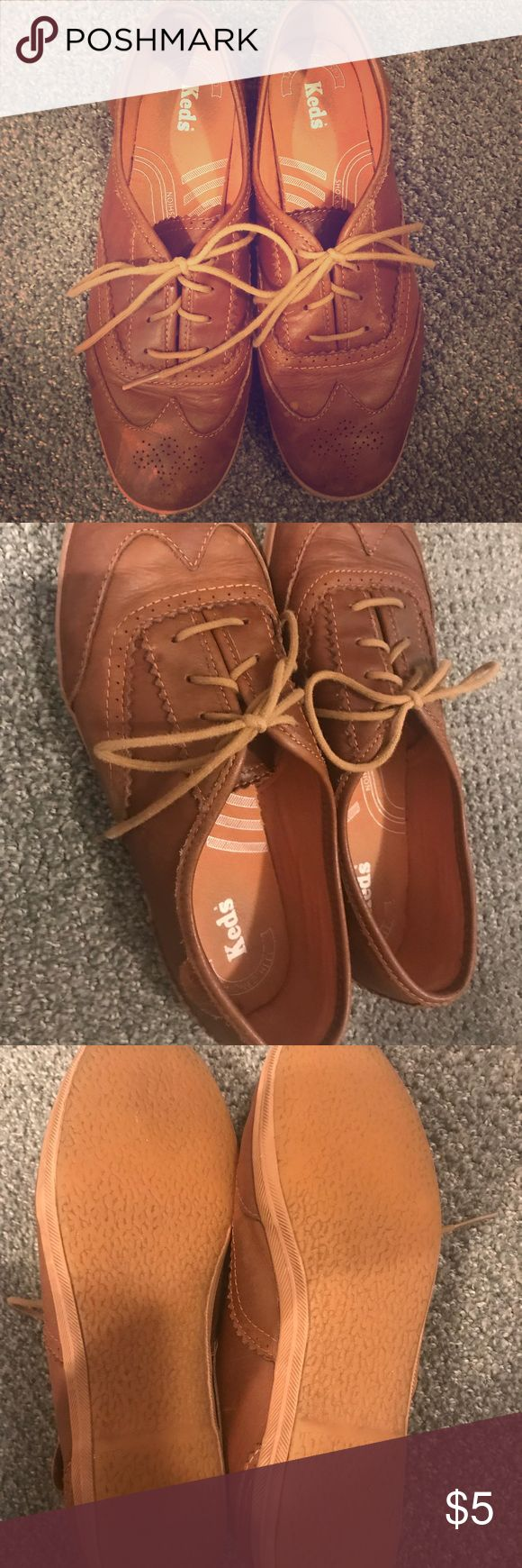 Brown Boat Shoes Brown boat shoes with ornate pattern on top. A few stains are on the shoes and are pictured above. Good condition but worn Keds Shoes Flats & Loafers