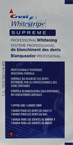 #oral #Crest Whitestrips Supreme has 100mg of gel with 14% hydrogen peroxide = 14mg of hydrogen peroxide per upper strip. Crest Whitestrips Professional has 200m...