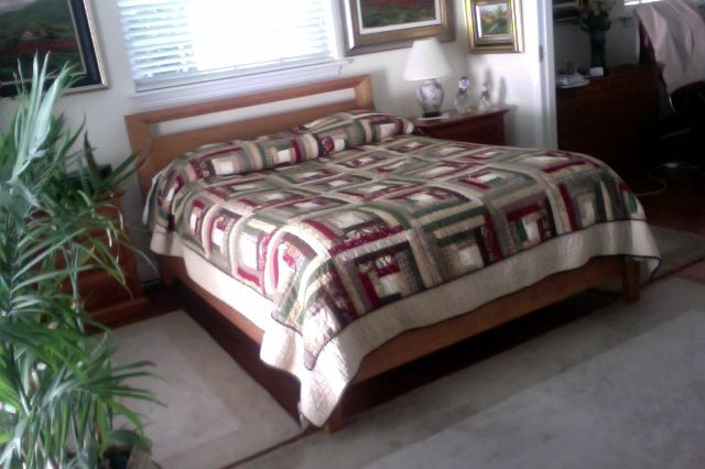 """A customer appreciation photo of our Mansfield Platform Bed by Copeland.   """"Just to let you know that my bed has arrived.  It is beautiful.  Extend my gratitude to the craftsman who built it for me. It's perfect."""" -Wendell M"""