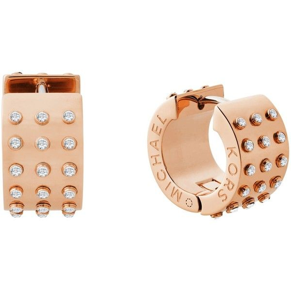 Michael Kors Earrings ($101) ❤ liked on Polyvore featuring jewelry, earrings, copper, logo earrings, michael kors, earring jewelry, stainless steel jewelry and stainless steel jewellery