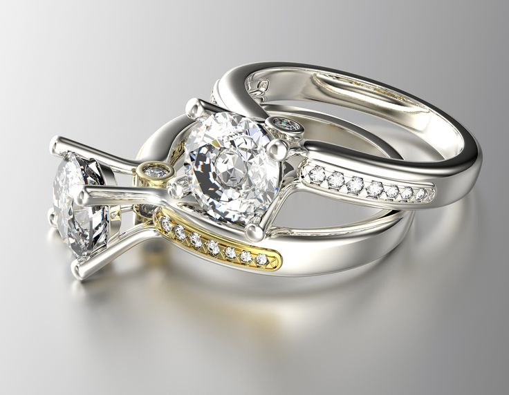 Fabulous  Kt White Yellow Gold Diamond Engagement Ring With Side Diamonds