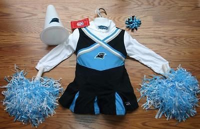 CHEERLEADER OUTFIT HALLOWEEN COSTUME UNIFORM CAROLINA PANTHERS POM POMS BOW 3T