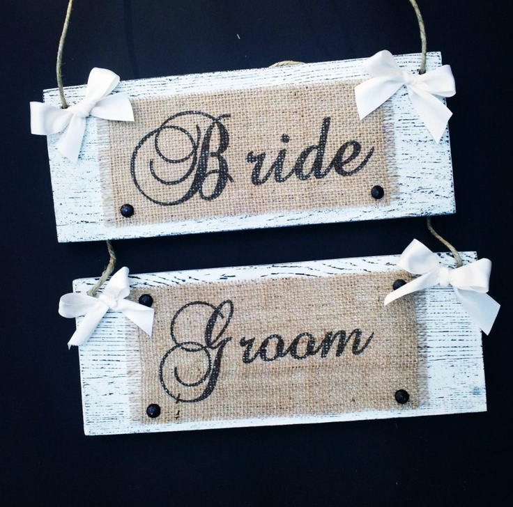 Burlap and Distressed Barn Wood Wedding Chair Signs, Photo Prop, Bride ...