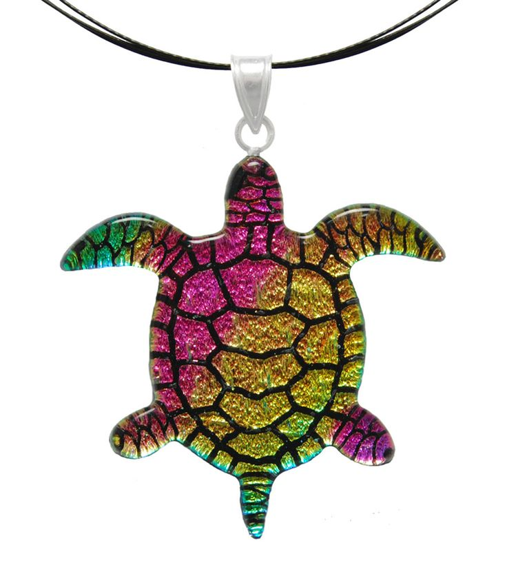 Dichroic Glass Marine Turtle Pendant with Silver Bail