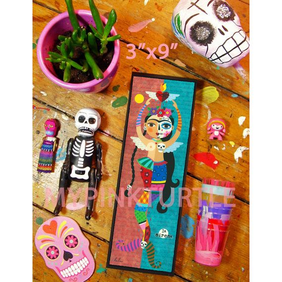 "NEW at Mypinkturtleshop ! FRIDA KAHLO Sugar SKULL  Day of the Dead Mermaid Angel 3"" x 9"" woodblocks !  LIMITED quantity of 12 ONLY !  $25 each plus shipping worldwide !"