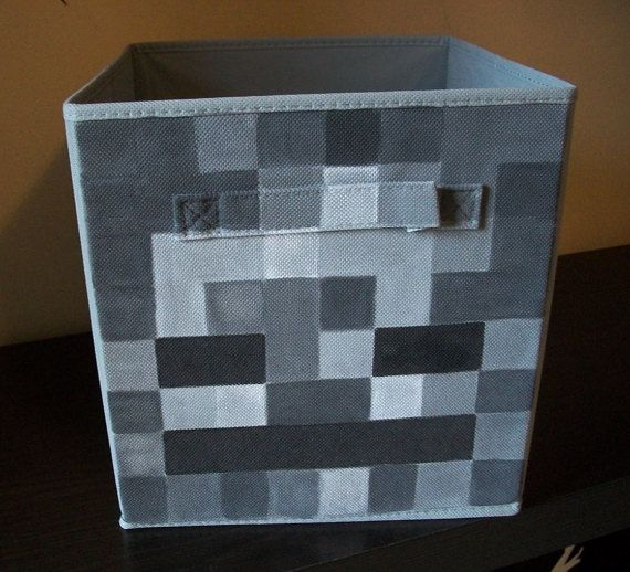 This is for a gray Skeleton Minecraft fabric bin. I hand-painted it with acrylic paints and then sprayed it with a matte finish to help protect