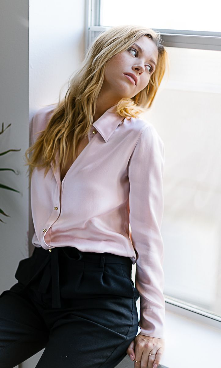 76a63538c91717 An elegant timeless pink button-up silk shirt. Perfect blouse for work and  evenings. 100% ultra-premium charmeuse silk.