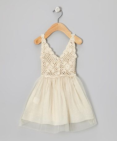 Another great find on #zulily! Cream Tulle Crocheted Dress - Toddler  Girls #zulilyfinds