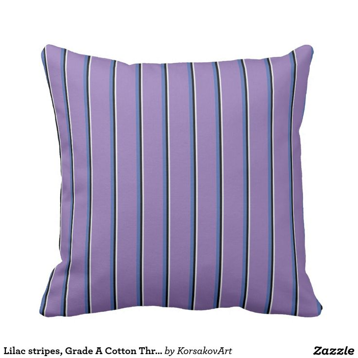 Lilac stripes, Grade A Cotton Throw Pillow 16x16 #home #interior #stripes #pillow #design