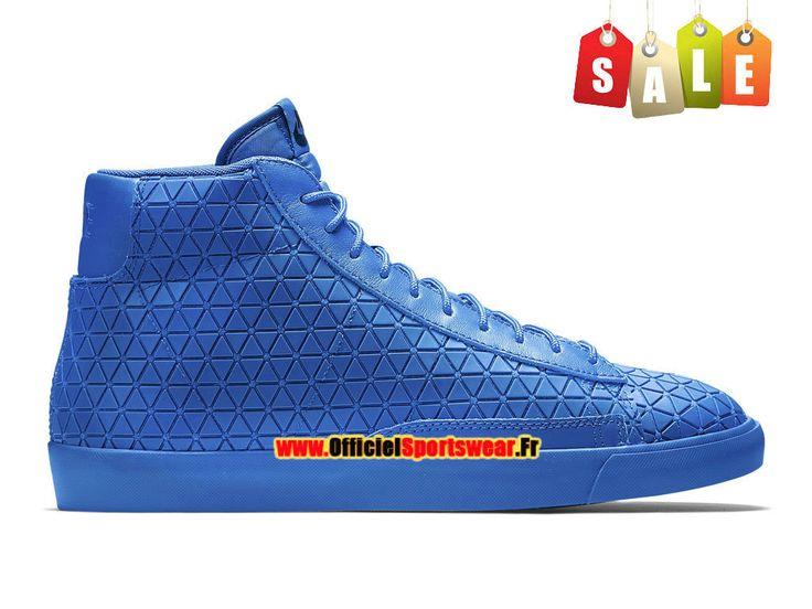 """Nike Blazer Mid """"Metric"""" - Chaussure Mi-Montante Nike Pas Cher Pour Homme Bleu royal/Bleu royal 744419-400"""