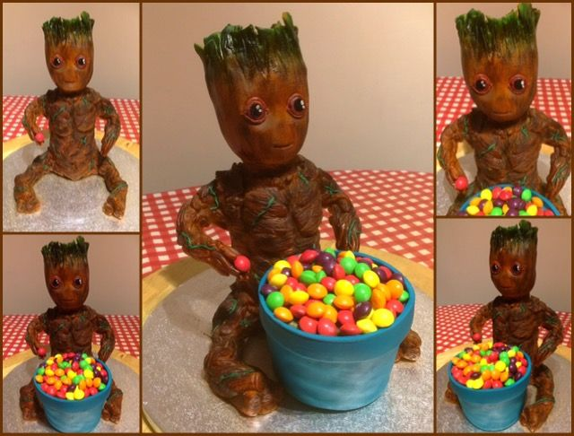 Baby Groot cake, please see video https://youtu.be/4d1Q07ju9H4