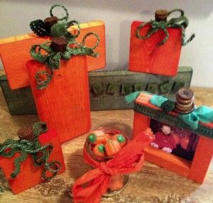 Wooden Pumpkins dyed with Rit Dye and, jute and burlap trims, button stems