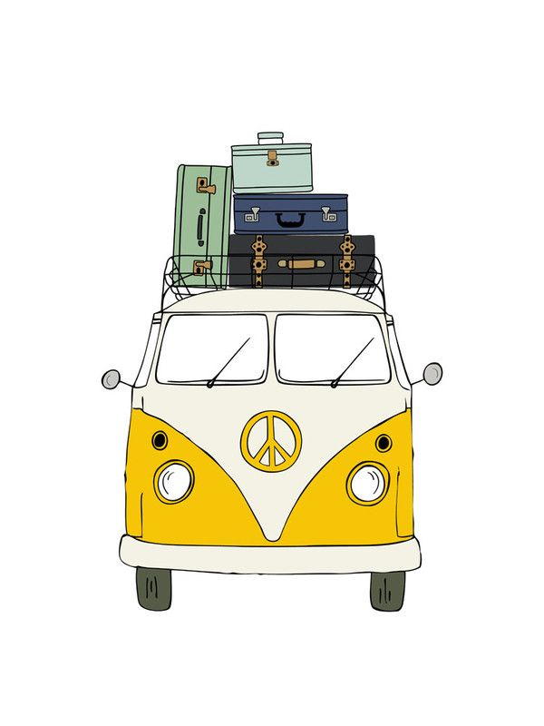 """The Peace Van on the Road"" - Drawing Limited Edition Art Print by Alston Wise"