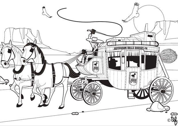 Coloriage de cow boy au far west avec son cheval - Dessin de cowboy ...