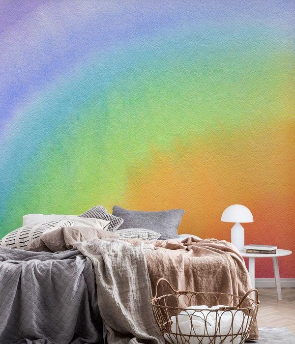 Watercolor Rainbow Wallpaper Wall Murals Rainbow Wall Mural